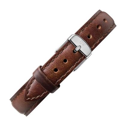 Daniel Wellington 14mm Petite Bristol Uhrenarmband Leder Dunkelbraun mit Stahlschliesse