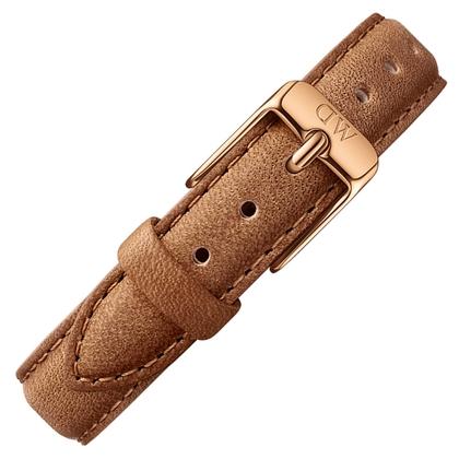 Daniel Wellington 14mm Petite Durham Uhrenarmband Leder Braun mit Roséschliesse