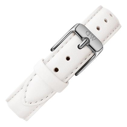Daniel Wellington 14mm Petite  Bondi Uhrenarmband Leder Weiss mit Stahlschliesse