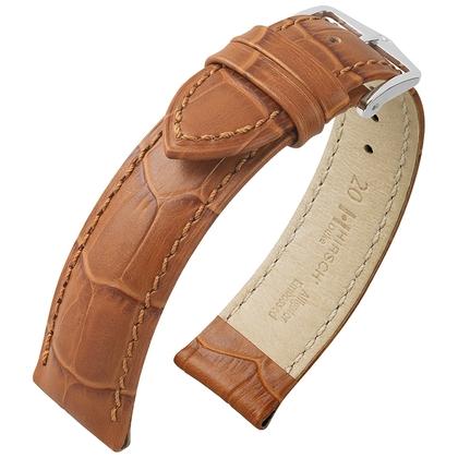 Hirsch Duke Uhrenarmband Alligatorgrain Honig